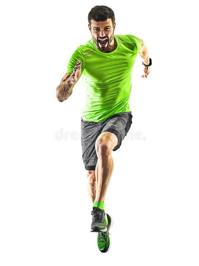 Man runner running jogger jogging isolated silhouette white background stock photography