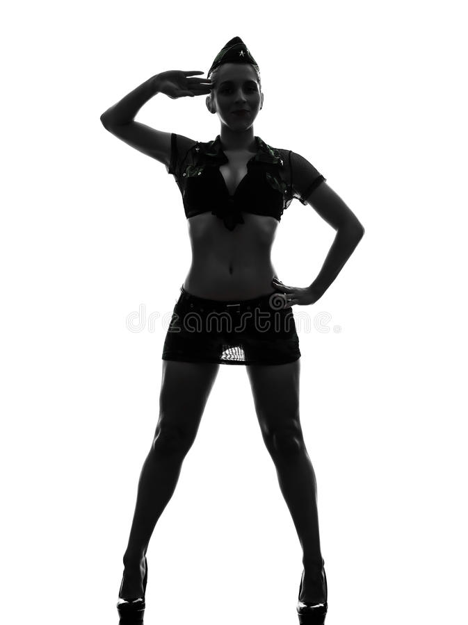 Woman in army uniform saluting silhouette. One caucasian woman in army uniform saluting in silhouette studio on white background royalty free stock photo