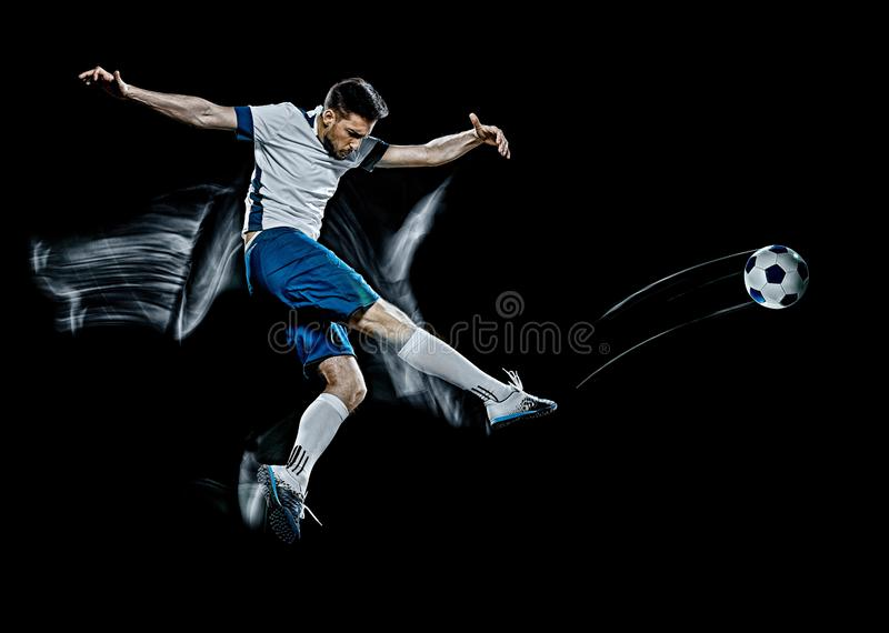 Caucasian soccer player man  black background light painting royalty free stock photos