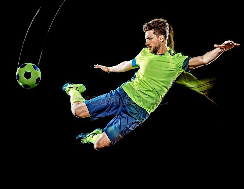 Caucasian soccer player man  black background light painting royalty free stock photography