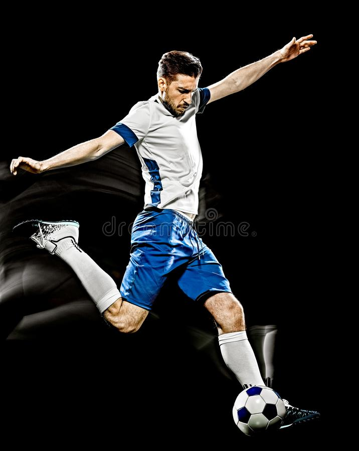 Caucasian soccer player man isolated black background light painting royalty free stock photos