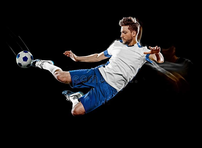 Caucasian soccer player man isolated black background light painting stock photos