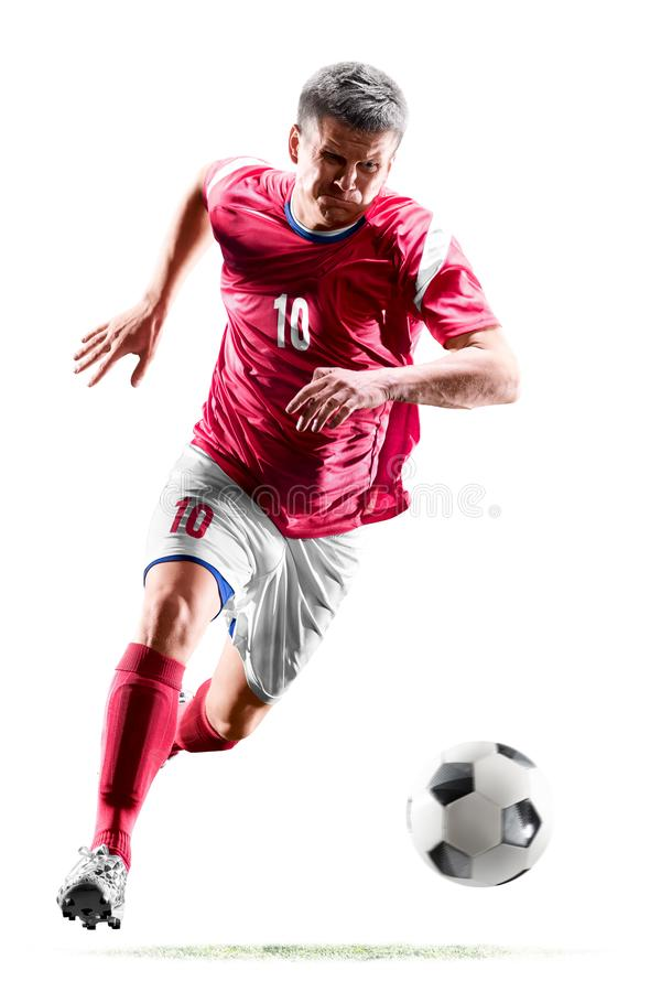One caucasian soccer player man isolated on white background royalty free stock photography