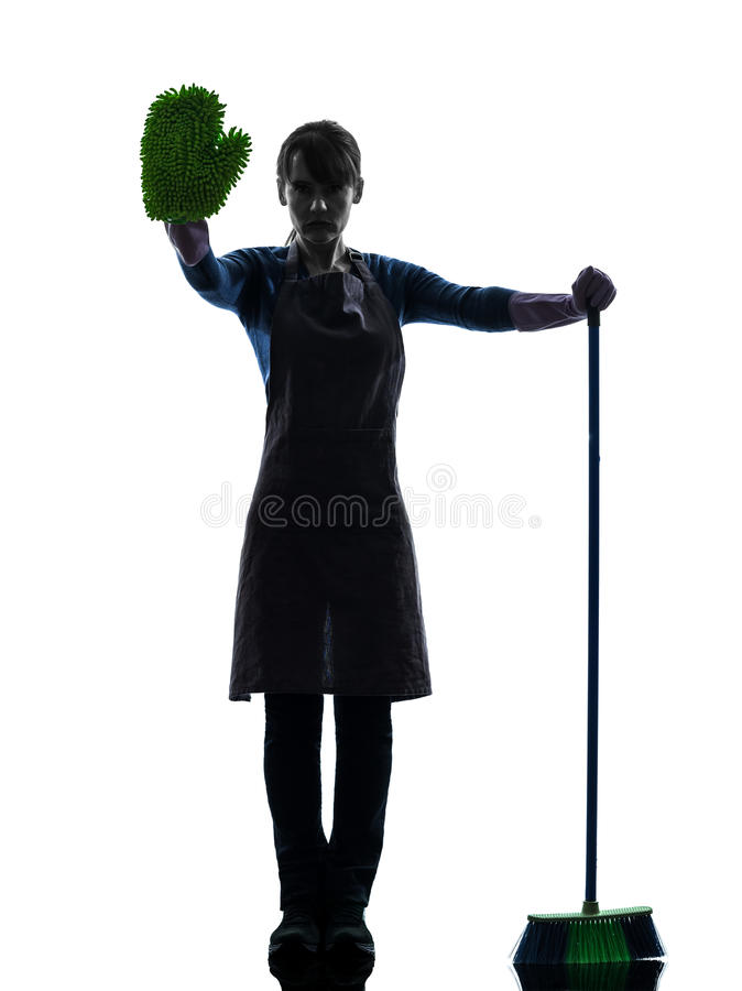 Woman maid housework brooming stop gesture silhouette stock photo