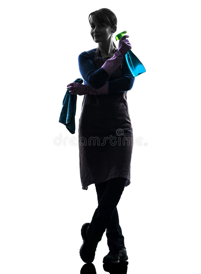 Woman maid housework sprayer silhouette stock image