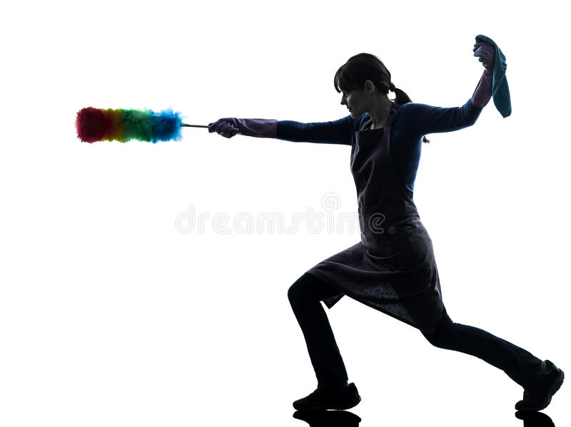 Woman maid housework dust cleaning silhouette stock photography