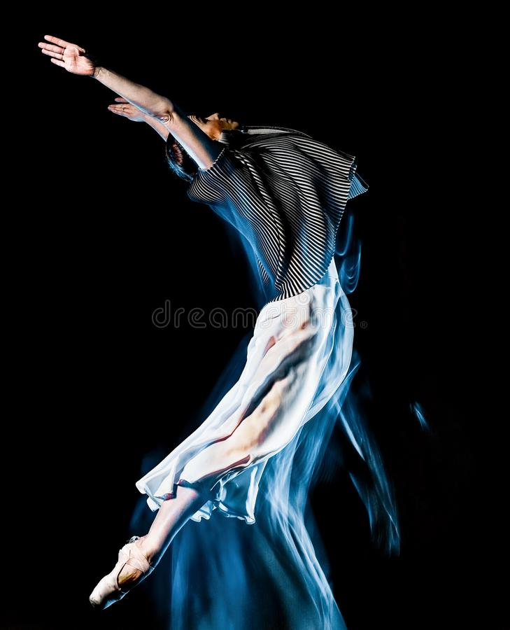 Odern ballet dancer dancing woman isolated black bacground stock image