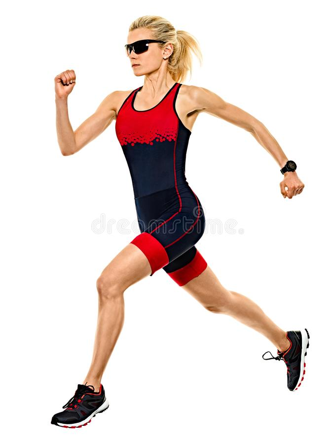 Woman triathlon triathlete ironman runner running isolated white background. One caucasian woman practicing triathlon triathlete ironman runner running jogger royalty free stock photography