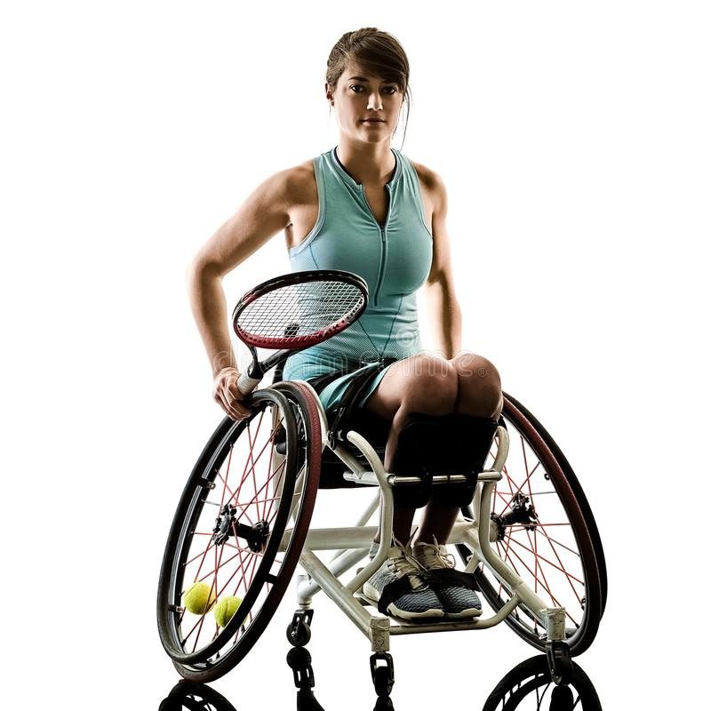 Young handicapped tennis player woman welchair sport isolated si royalty free stock photos