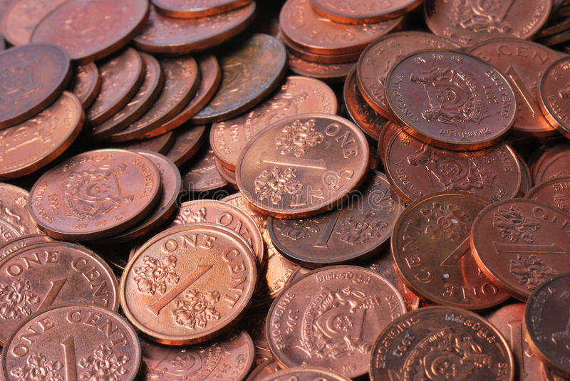 One Cent Coins Stock Photography