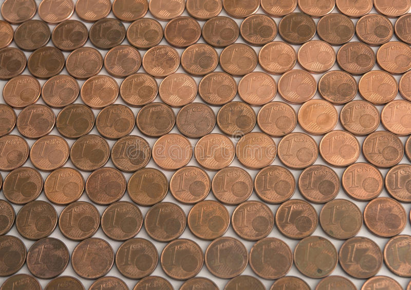 One cent Euro coins pattern. Several 1 cents compose a rich pattern royalty free stock photography