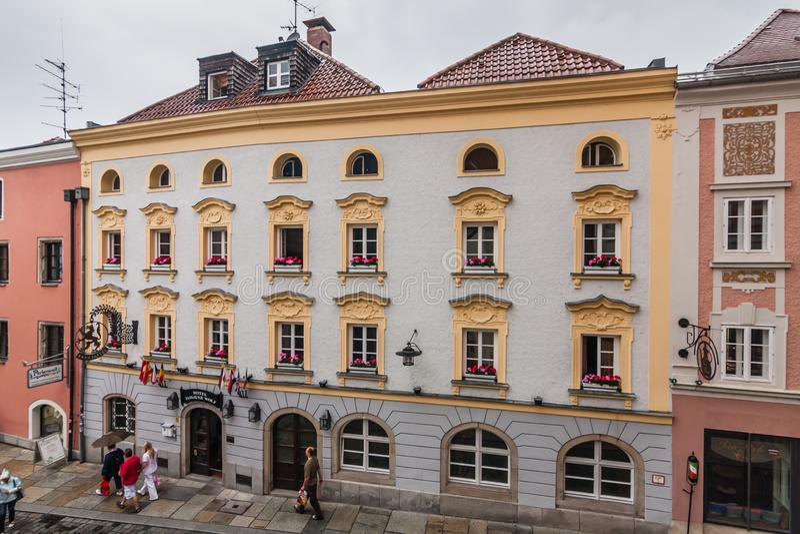 The Rindermarkt Street and Passauer Wolf Hotel, Passau stock images
