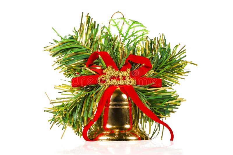 One christmas bell with ornaments royalty free stock photos