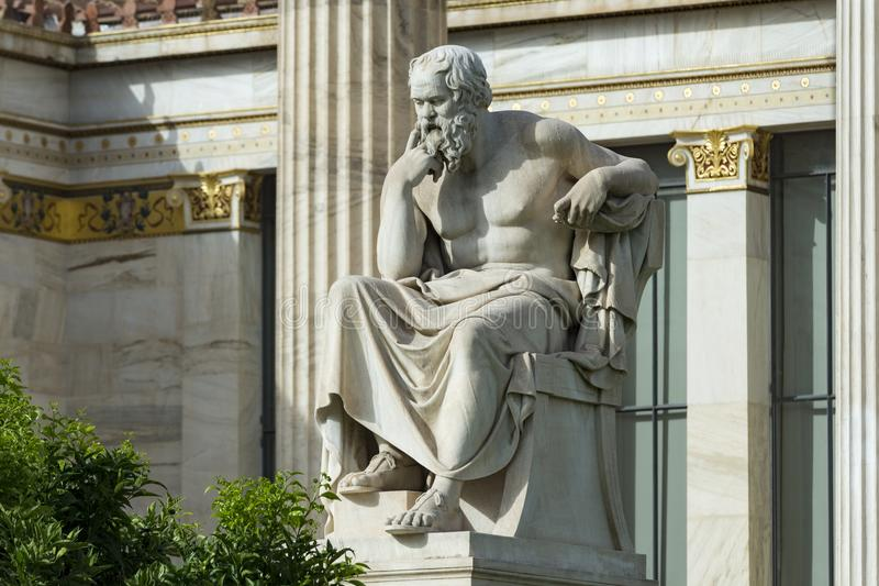 One classic statue of Socrates. One classical statue of Socrates at academy of athens, Greece stock photo