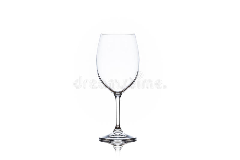 One clean empty wine glass on white background royalty free stock images