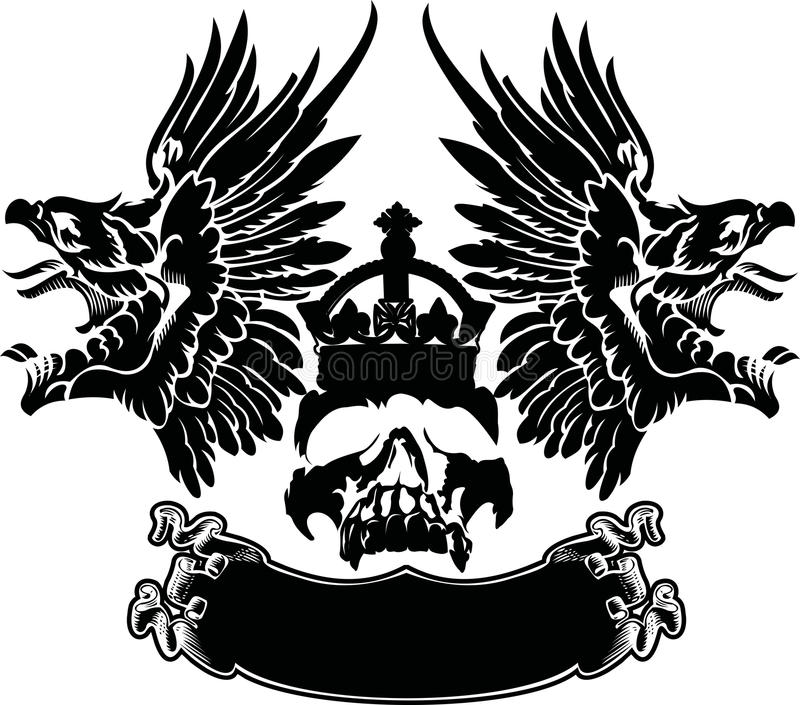 Download One Color Eagle Wings Skull Symbol Stock Image - Image: 28495183