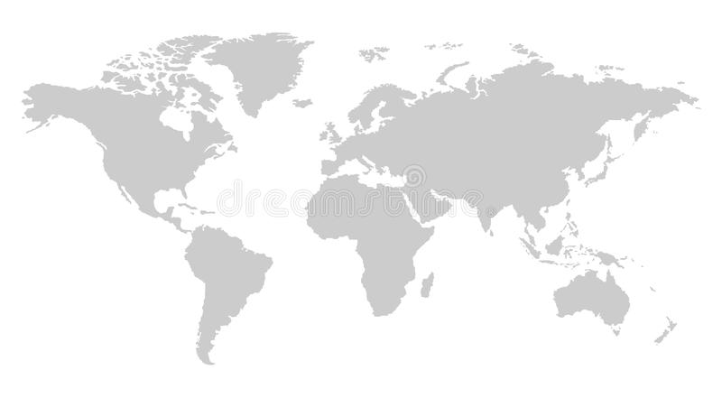 One color grey world map isolated on transparent background. World vector illustration vector illustration