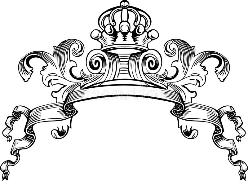 One Color Royal Crown Vintage Banner Stock Vector ...