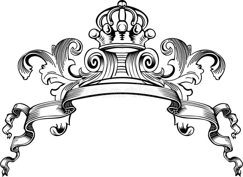 One Color Royal Crown Vintage Banner royalty free illustration