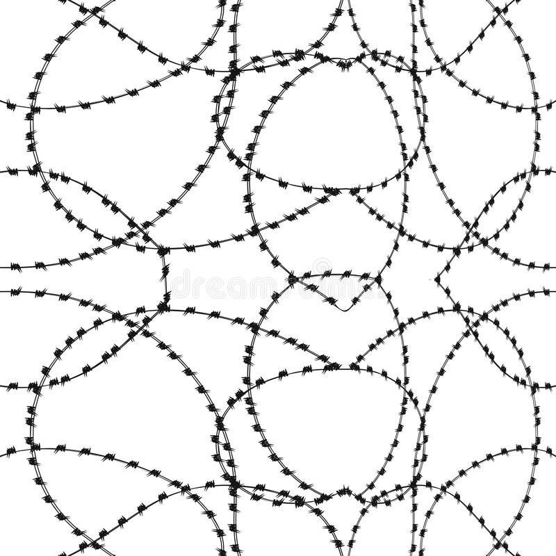 One Color Seamless Barbwire Background.  stock illustration