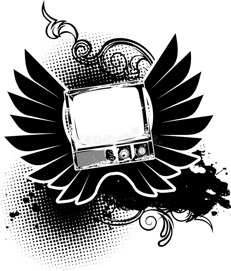 One Color Vintage TV And Wings Sign. royalty free illustration