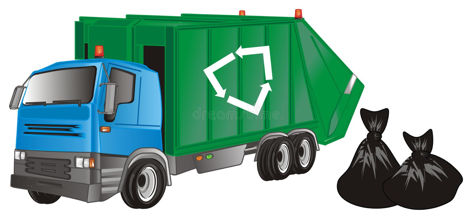 Garbage truck with garbage bags vector illustration