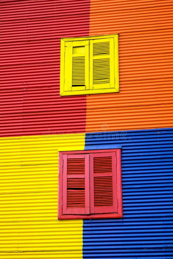 One of the colorful facades of La Boca. In Buenos Aires, Argentina stock images