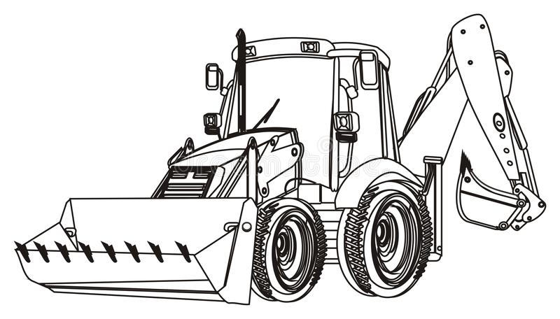 One coloring excavator. Not colored excavator on a white background vector illustration