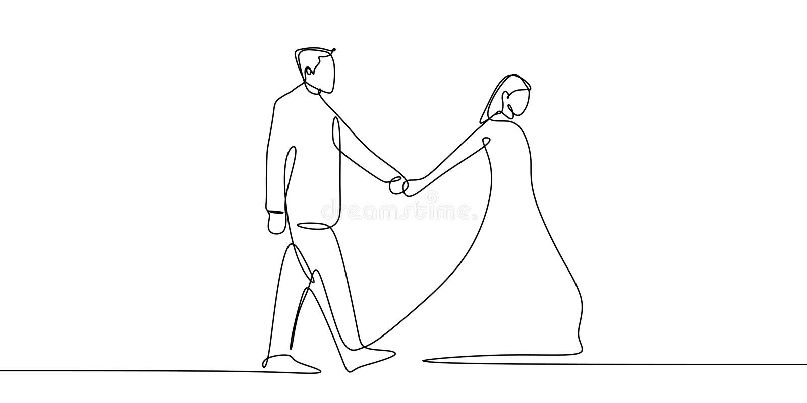One continuous line art drawing of couple holding hands vector illustration minimalism style. Single one continuous line art drawing of couple holding hands vector illustration