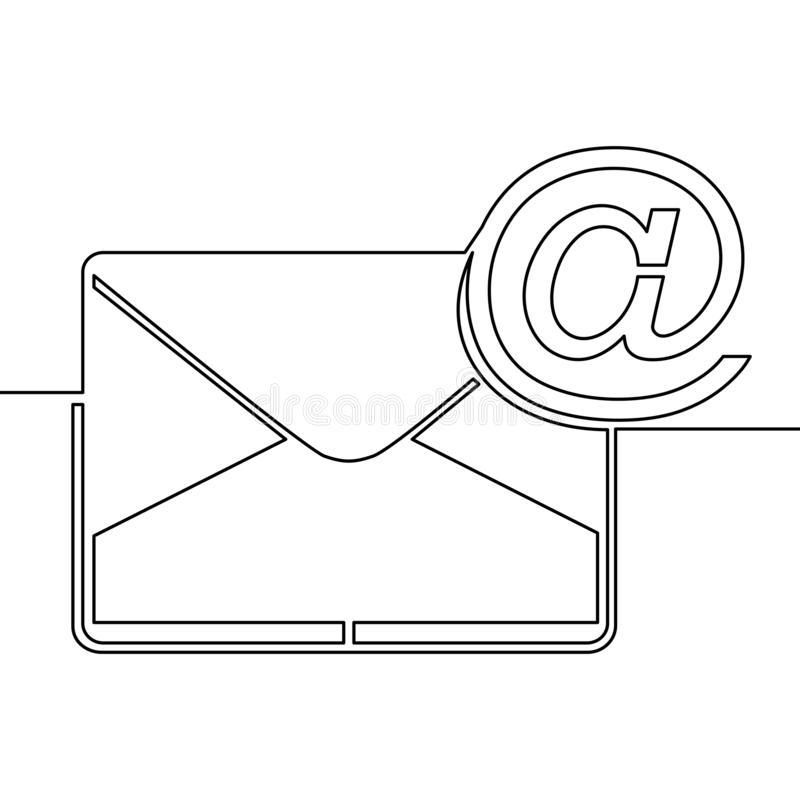 One continuous line drawing of email icon concept royalty free illustration