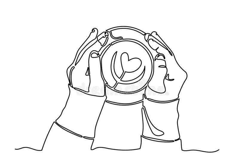 One continuous line drawing of hands holding coffee.  vector illustration