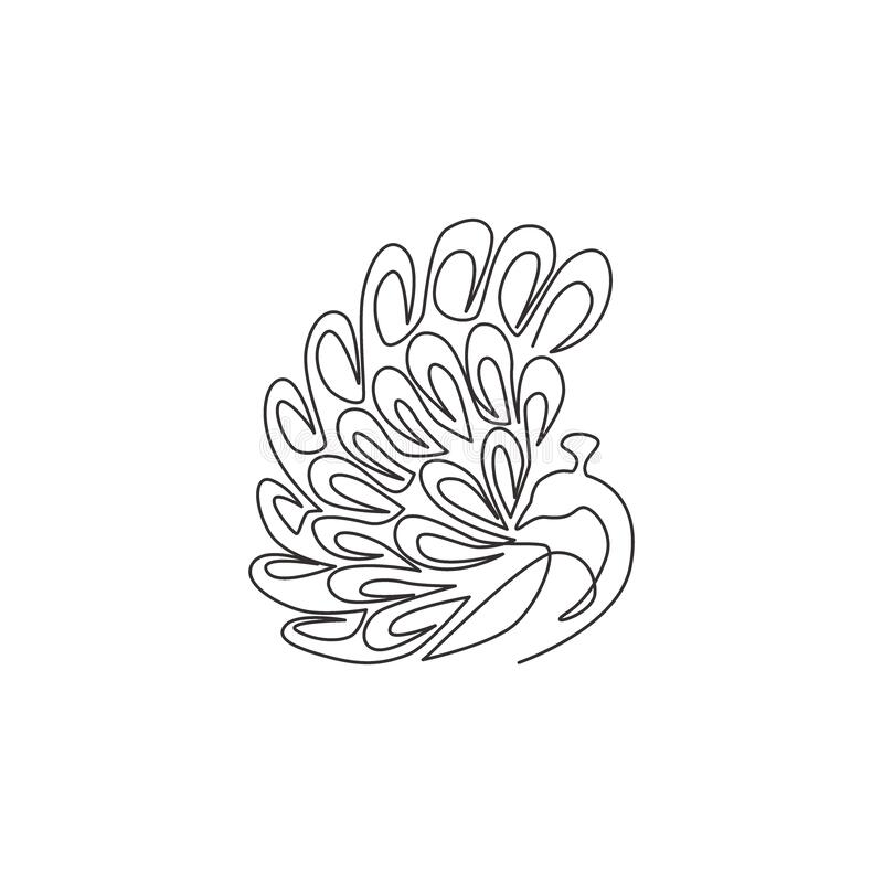Free One Continuous Line Drawing Of Beauty Adorable Peacock For Company Logo Identity. Big Pretty Bird Mascot Concept For National Zoo Stock Photos - 195350313