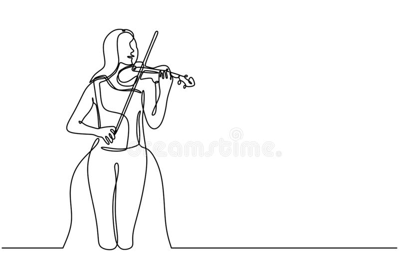 One continuous line drawing of young happy female violinist performing to play violin. Musician artist performance concept single vector illustration