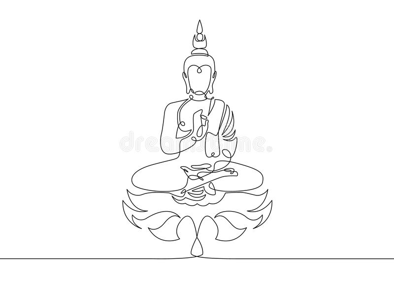 One Continuous Line Drawn Buddha Stock Vector Illustration Of