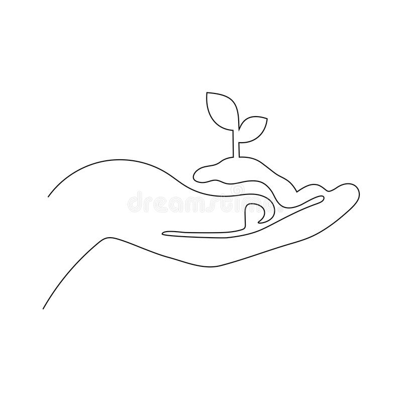 One continuous line vector illustration of young plant with ground in hand. Palm holding a sprout isolated on white. stock illustration