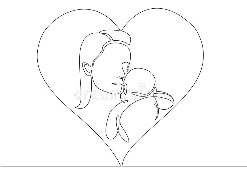 One continuous single drawn line Logo with mother holding her baby with heart shape vector illustration