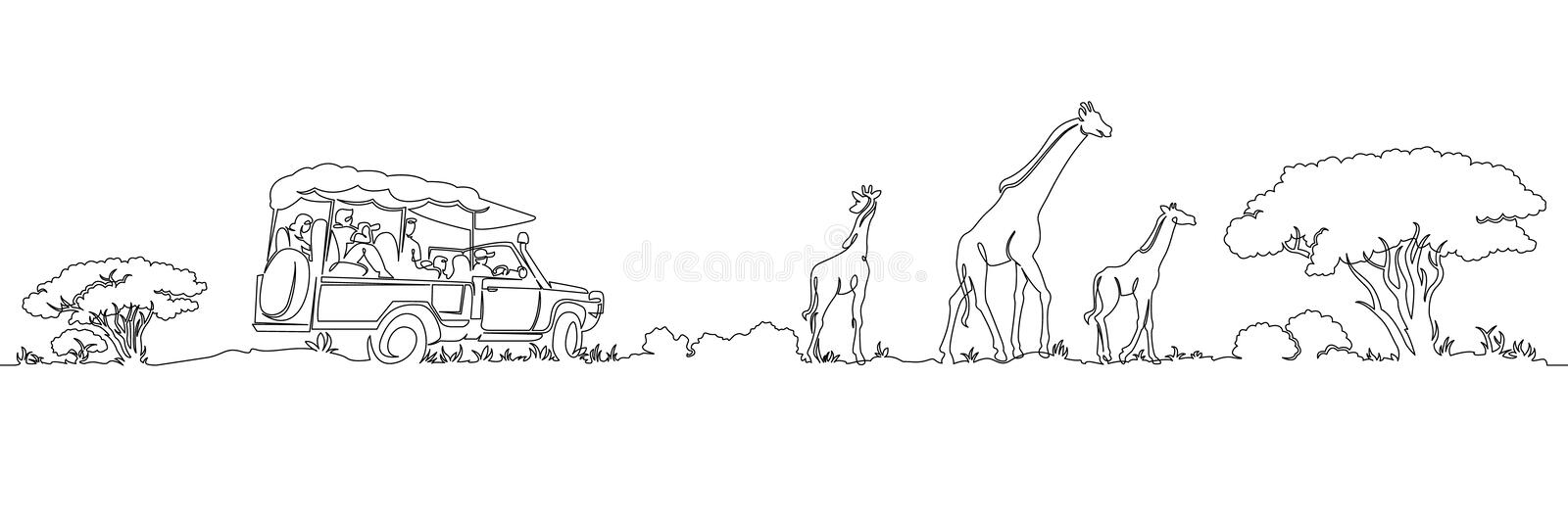 One continuous single painted safari panorama of Africa`s giraffes landscape stock illustration