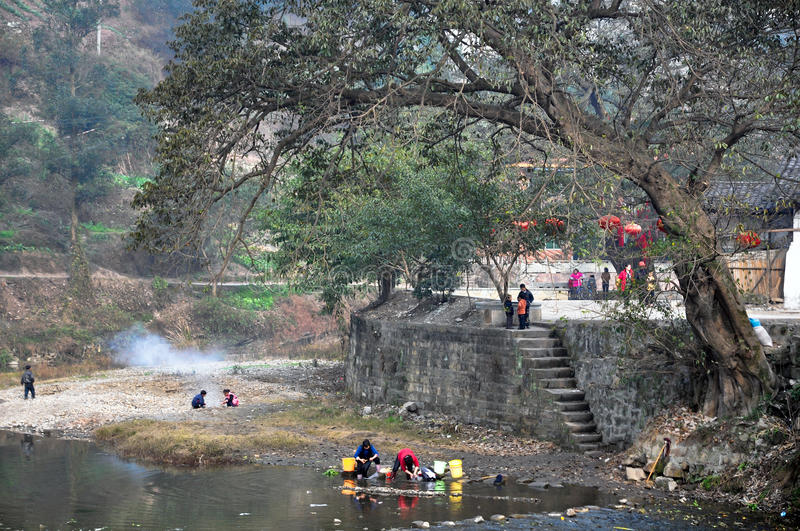 chinese ancient village stock image