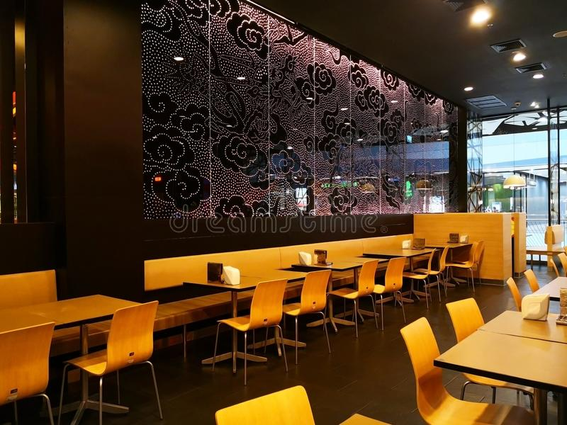 One corner in the restaurant without customers. The beautiful corner in the restaurant without customers. Japanese restaurant stock image