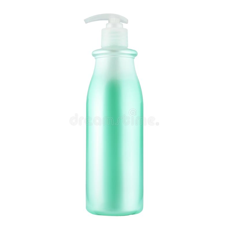 One cosmetic bottle with green liquid. Close up isolated on white background stock images