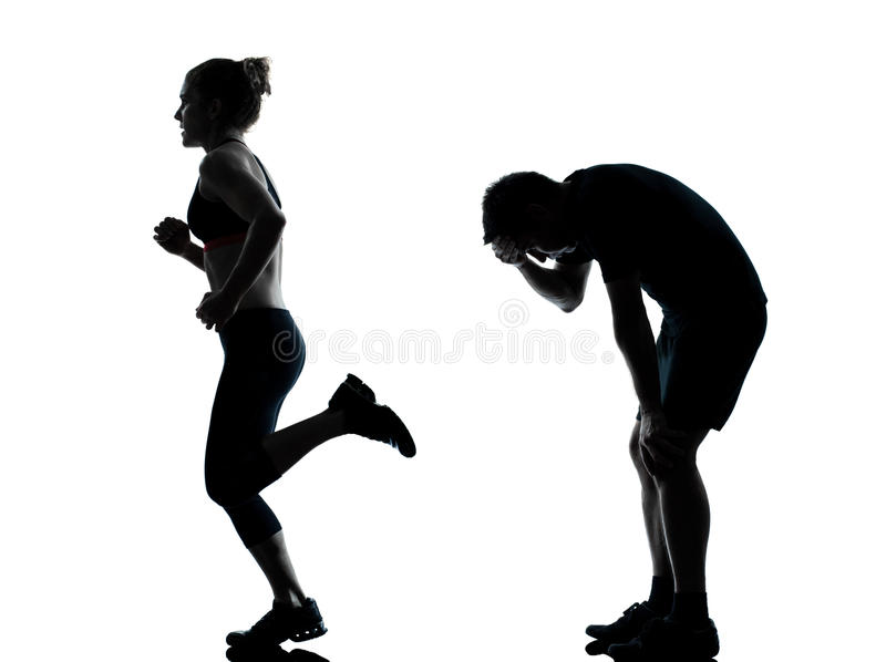 One couple man woman exercising workout fitness royalty free stock image