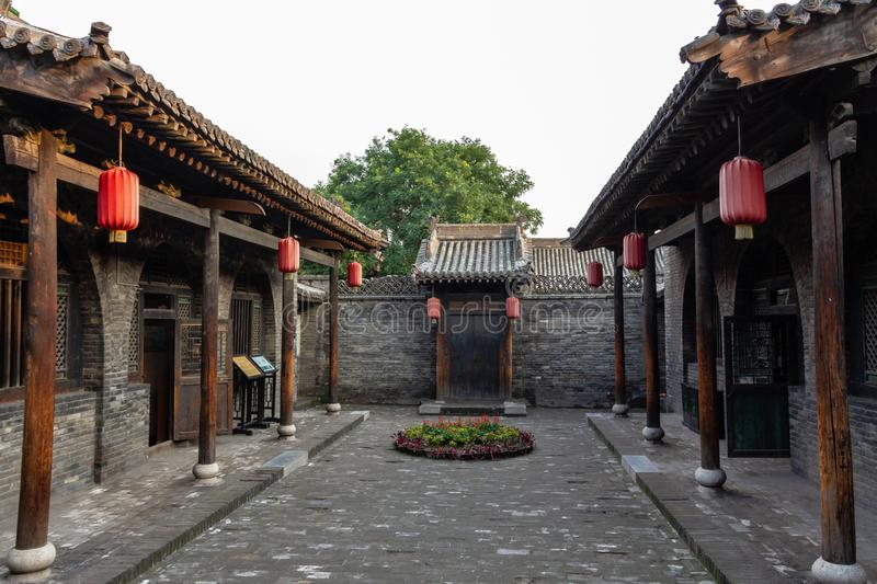 One of the courtyards of a Government building in the ancient city of Pingyao, Shanxi province, China. Known as one of the best preserved historical villages stock images