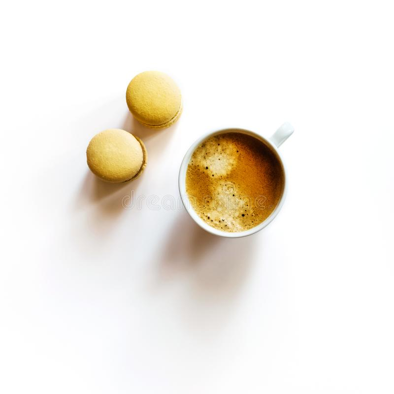 One cup of coffee on white background. stock photography