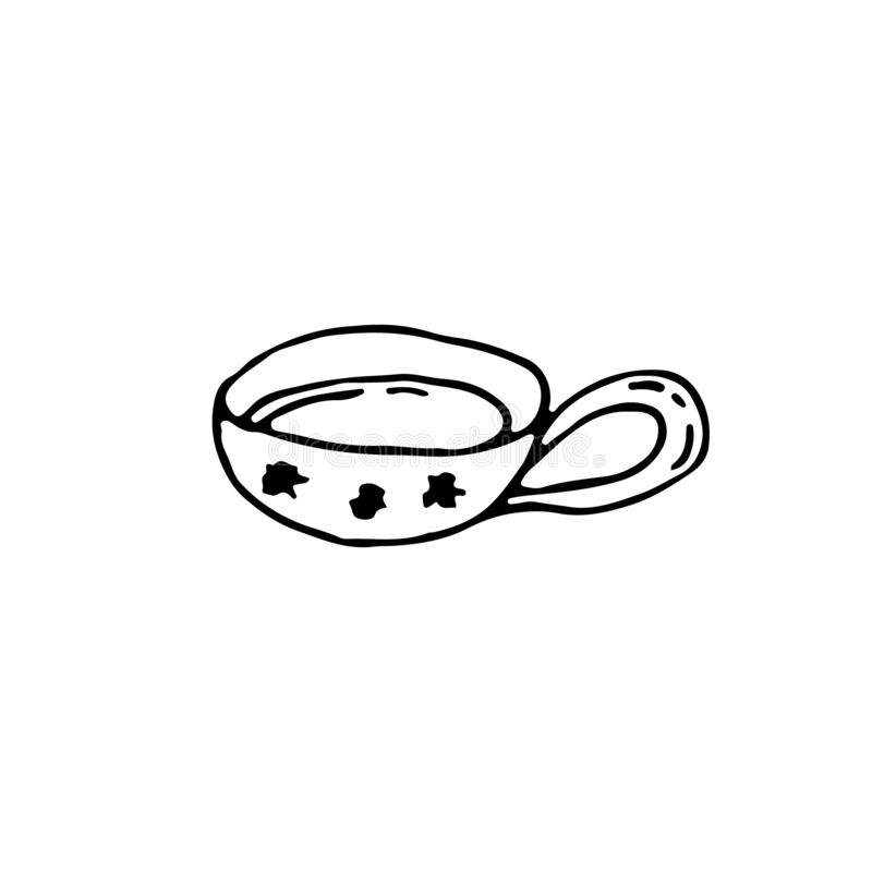 One cup of tea, a hot drink. New Year and Christmas hand drawn cups with snowflakes ornament. royalty free illustration