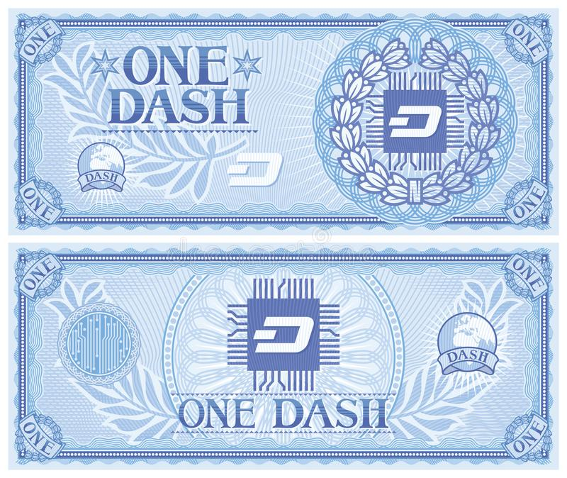 One DASH abstract banknote. Background vector illustration