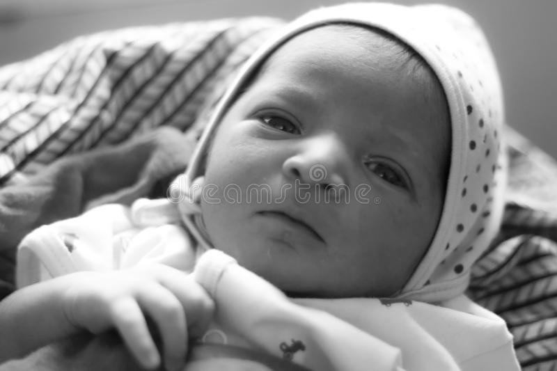 One day old new born baby black and white photo. One day old indian asian infant newborn baby black and white picture royalty free stock photography