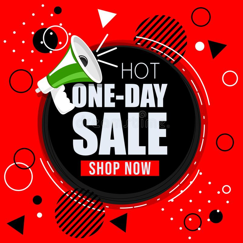 One-Day Sale. Red and Black sale shapes. vector illustration