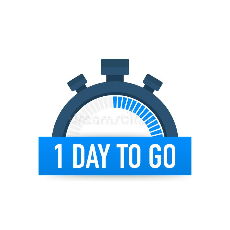 One day to go. Time icon. Vector illustration on white background. One day to go. Time icon. Vector stock illustration on white background stock illustration