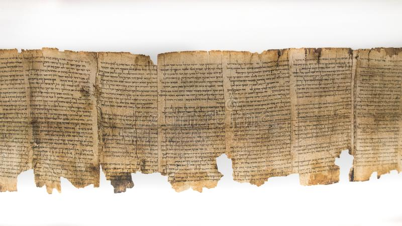 One of Dead Sea Scrolls, displayed in Shrine of the Book. Israel stock photography