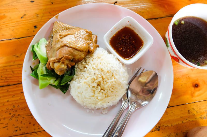 One dish of rice Chicken is delicious. royalty free stock photography